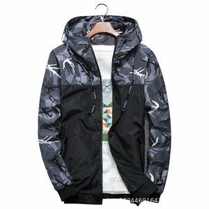 2020 primavera e in autunno Moda Uomo Casual camuffamento incappucciato del cappotto del rivestimento di tendenza Camouflage Uomini fresco Windbreaker M-6XL