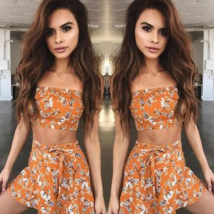 Summer Women Clothing Set Off shoulder Tops T shirt Skirt Women New Fashion Floral Sexy Clothes