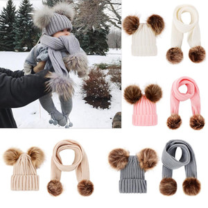 New 5 Colors Baby Kids Boys Girls Big Poms Beanies with Scraf 2Pieces Set Knitted Winter Child Fur Poms Hats for 0-2T