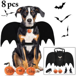 Cute Bat Wings with Leash Pumpkin Bell Hair Clip For Dog Cat Costumes Halloween Cosplay Clothing Funny Dress Pet Accessories