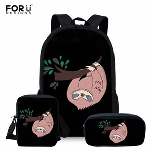 FORUDESIGNS Cute Sloth Girls Backpack Kids Puppy mochilas escolares infantis Children School Bags Set Lovely Satchel Q1109