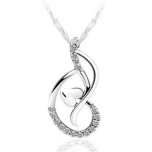 Aşk Dans Kolye Beyaz Altın Kaplama 925 Ayar Gümüş Kolye Kolye Kalp Kolye Mücevherat Hiçbir Zincir 36 N2