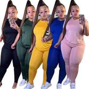 Cuello de la tripulación Plus Tamaño Trajes Casual Soild Color Womens Dos piezas Sistema de moda Diseñador de moda Ropa para mujer
