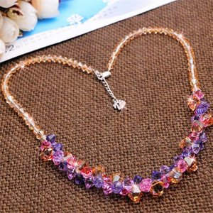 Exquisite Crystal Pendants Necklaces Handmde Bohemia Champagne Colorful Fashion Chain Necklace Jewelry Girls Women Gifts