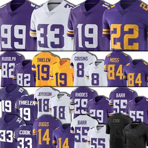 84 Randy Moss 18 Justin Jefferson Jersey 19 Adam Thielen 33 Dalvin Cook 8 Kirk Cousins Futbol Harrison Smith Kyle Rudolph Danielle Hunters