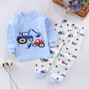 Niños pijamas ropa de bebé conjunto niños dibujos animados ropa de dormir otoño algodón ropa de noche niñas niñas pijamas animal conjunto