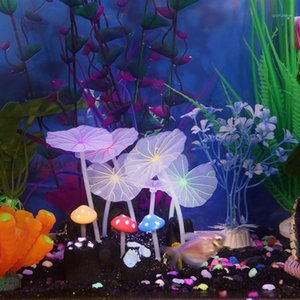 1pcs Aquariums Accessories Artificial Coral Reef Glowing Lotus Leaf Mushroom luminous Stones Fish Tank Decoration with Sucker1