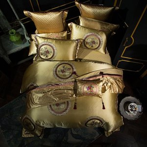 Queen King size Silver Golden Red Luxury Wedding Bedding Set 60S Satin Egyptian Cotton Duvet cover Bed sheet set Pillowcase