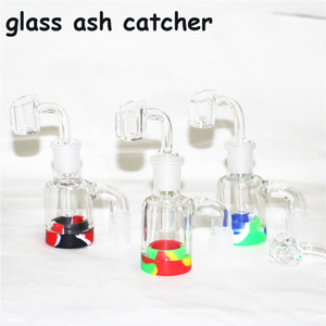 Glass Ash Catcher with 7ml Silicone Wax Jar for Glass Bongs Water Pipe Dab Rigs 14mm joint quartz bangers glass nectar collector