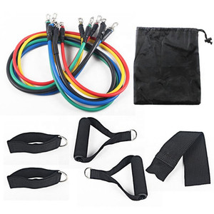 11pcs set Pull Rope Fitness Exercises Resistance Bands Latex Tubes Pedal Excerciser Body Training Workout Yoga Gym Equipment