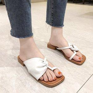 ПУ кожаный клип Toe тапочки женщин низкие каблуки сандалии летом открытый мода квадратный носок тапочки женские деревянные каблуки сандалии1