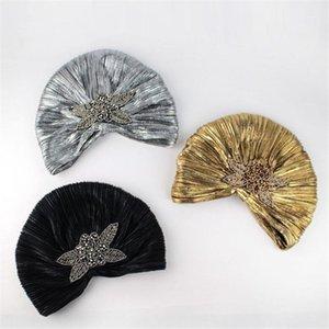 Luxury Designer Turban Hat for Muslim Beaded Arabic Caps Ladies African Head Wrap Pleat Bonnet Beanie Women Shiny Party Headwear1