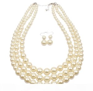 Fashion 4 Colors Simulated Pearl Multi Strand 3 Layers Choker Dressy Necklace and Earrings Set free shipping