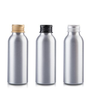 100ml Aluminium metal bottle with silver gold lid lotion emulsion serum foundation facial toner water toilet skin care packing