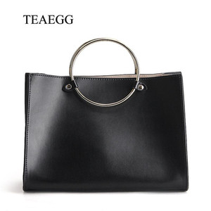 TEAEGG Women Real Leather ring Handle handbag Female Retro Genuine Leather cowhide Crossbody Bag Lady Messenger Bag
