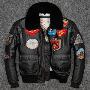 Uomo Giacca pilota in pelle Pistola in pelle Plus Size Collare in lana Colletto in pelle bovina American Army Pelle Army Coat LJ201029