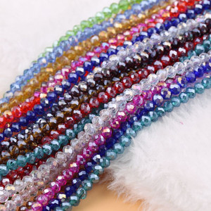 AB Multicolore Abacus Crystal Verre Perles Lâche Collier Faced Collier Bracelet Couleurs Bijoux