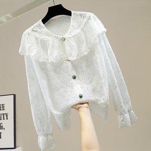 Женские блузки рубашки белый кружевной блузкой винтажным стилем суда Rauffled кукла воротник в рукаве нерегулярной однобортской рубашкой перспективы