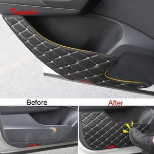 Puerta Tonlinker Interior del coche anti sucio Pad Pegatina Cubierta para T ROC 2018 19 Car Styling PU cubierta de cuero de la etiqueta engomada 8B6m #