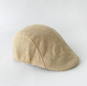 Hombres Primavera y otoño Beret Británica Retro Lino Linda Lengua de Pato Ceretas Color Sólido Sombrero Casual Moda Moda Favor de Favor Ewe2039