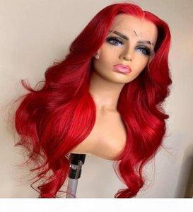 WAND WAVE U PART WIG WIG GRAND CAP Taille Perruque 13x4 6 Dentelle Partie longue Cheveux brésiliens rouges pour femmes noires avec des cheveux de bébé