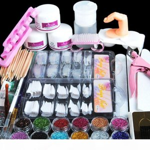 Manicure Kit 19 Nails Nail Art Tips False Nails Sequins Decor Powder White Light Pink Manicure Set Kit (Size: Acrylic Nail Kit)