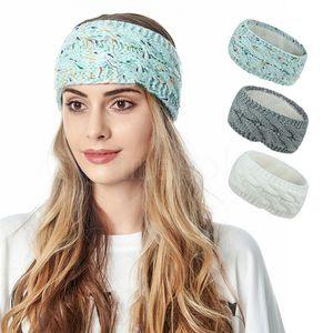 Knitted Headband Winter Women Lady Warmer Crochet Turban Head Wrap Plush Earflaps Elastic Headwrap Hairbands Accessories DB372