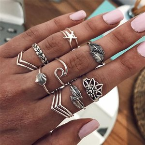 12Pcs Set Simple Women Rings Set Leaf Hollow Lotus Shell V Shaped Finger Silver Color Ring Creative Valentine's Day Gift Jewelry