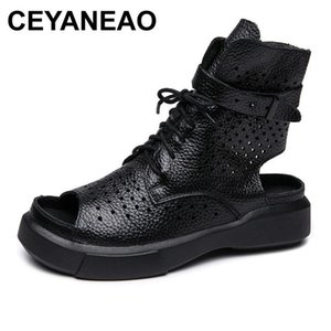 CEYANEAO 2020 Fashion Ladies Sandals Hollow Out Gladiator Sandals Women Flats Open Toe Genuine Leather Summer Cool Boots