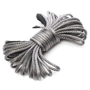 15m*6mm 1 4'' x 50' 7700lbs Grey Synthetic Winch Rope Cable Line With Hook for ATV UTV Off-Road1