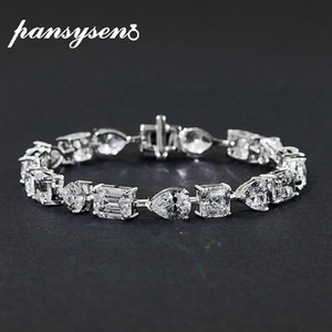 Charm 15-17CM Pure 925 Sterling Silver diamond Bridal Wedding Enagegement Bracelet Gemstone Fine Jewelry