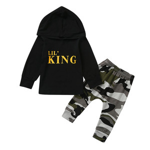 TELOTUNY Toddler Kids Baby Boy Letter Hoodie Cotton T-Shirt Tops+ Camo Pants Outfits Clothes Set European Children's Clothing