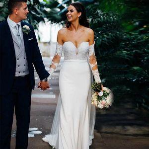 Mermaid Satin Long Sleeve Beach Wedding Dress Lace Appliques vestido de noiva simples Off-shoulder Covered Buttons Wedding Gowns P26