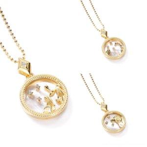 HYD3I Kadınlar Kristal S925 Kalp Rengi Rhinestone Oniki Takımyıldızlar Kabuk Kolye Neckla Şerit Gümüş Zincir Kolye Kolye Takı