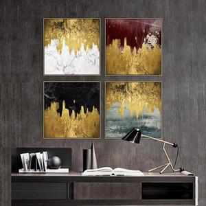 Картины Nordic Golden Абстрактный пейзаж стены искусства холст роспись печать плакаты Morden фотографии для гостиной эль декор плакат