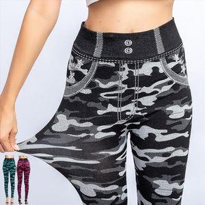 New Fashion Women Leggings Camuflagem Imprimir leggings com Mock bolso Faux Denim Jeans Magro aptidão Elastic sem emenda