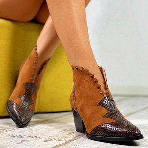 2020 Female Autumn Winter Lace PU Leather Cowboy Ankle Boots Snake Print Western Cowgirl Boot Women Wedge High Heel Booties #YZ3t