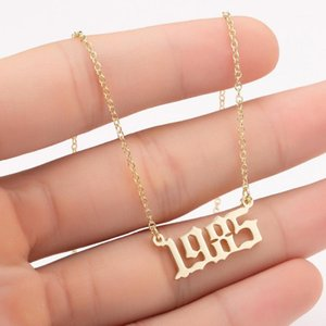 New fashion Year Number Necklaces for Women or men Custom Year 1980 1989 2000 Birthday Gift from 1980 to 20201