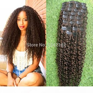 Real Human Hair Extension Clip In Brazilian 9pcs Clip In natural curly brazilian virgin hair extensions #4 Dark Brown 8-30 inch