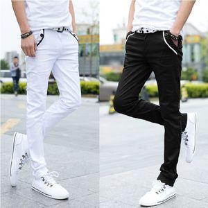 Großhandel 2020 Mode Frühjahr-Sommer-beiläufige schwarzes Weiß Streetwear-Twill Hose Männer pontallon HOMME dünne Bleistift-Hosen LJ201023