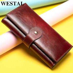 Les femmes de portefeuille des femmes Westal en cuir véritable embrayage portefeuille femelle long pour téléphone / cartes Porte-monnaies fille porte-monnaie porte-monnaie sac d'argent 200930