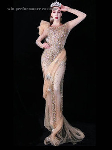 High end Luxury rhinstone long mesh fairy skin color fleshcolor Sequins embellish curves evening dress party outfit prom wear