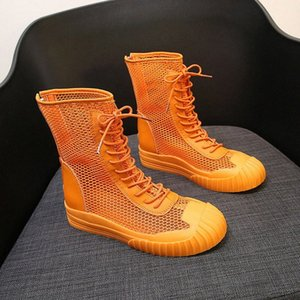 new Korean version of the high-top boots zipper hollow breathable mesh short boots Martin motorcycle women's shoes J2LX#
