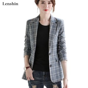 Lenshin Vintage England Style Plaid Coat with Pockets for Women Two Button Long Sleeve Jacket Fashion Outwear Blazer 201110