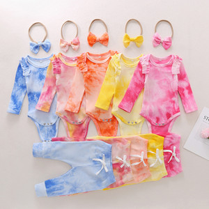 Infant Tie Dye Outfits Girls Ruffle Long Sleeve Baby Romper Clothing Set Toddler Girls Pants Bow Headbands 3Pcs Sets Baby Clothes Z2035
