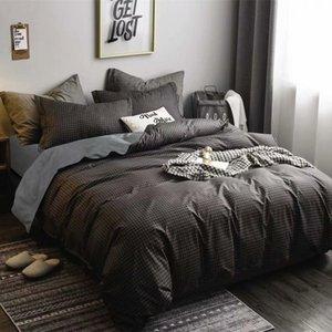 2/3 piezas nos tamaño duvet cover set Rejilla Sábanas de microfibra azul verde envío bedcloth sólido hotel Rosa Conjunto gota al por mayor de ropa de cama
