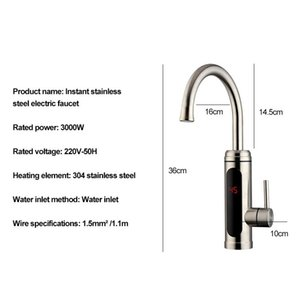 Electric Water Heater Temperature Display Kitchen Tankless Instant Hot Water Faucet 3000W Cwmsports SEA SGIPPING GWE4134