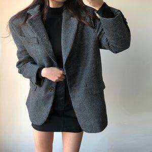 HziriP OL Classic Vintage Houndstooth Quilted Woolen Suit Blazer Jacket 2020 New Autumn Winter Lace-up Formal Women Blazers Coat