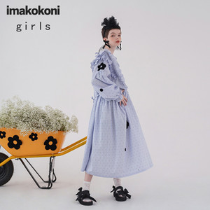 imakokoni original design blue stripe flocking wave point Japanese loose long dress spring and autumn 202913 0930