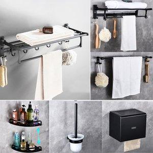 Free Shipping Cody Space Aluminum Bathroom Set Accessories Space Al Bath Towel Rack Bathroom Hardware Black Pendant Set Towel Rack